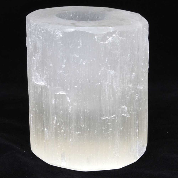 Selenite Cylinder Tea Light Lamp