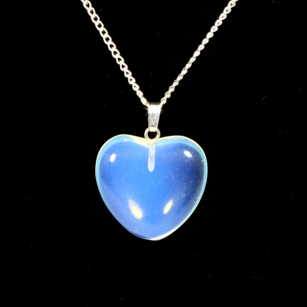 Opalite Heart Pendant With Chain