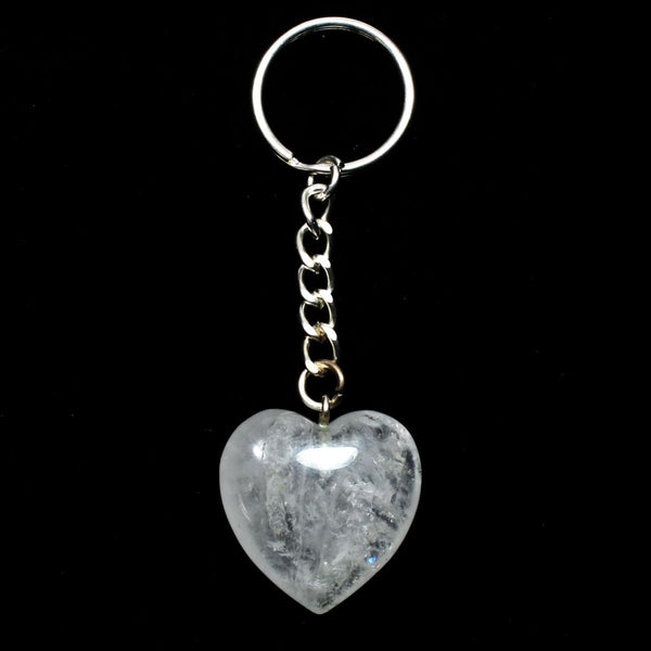 Clear Quartz Heart Keyring