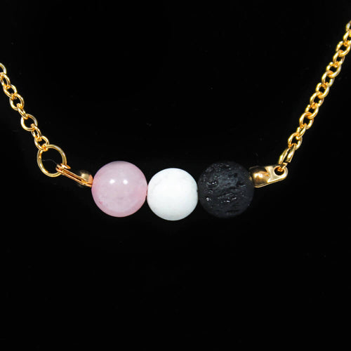3 Bead Lava Stone Diffuser Necklace - Gold Plated
