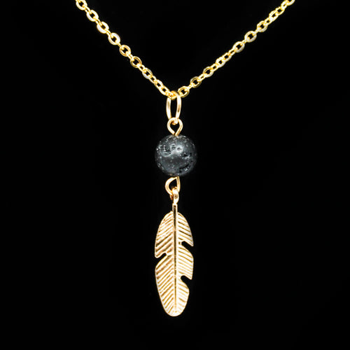 Lava Stone Diffuser Necklace & Feather - Gold Plated