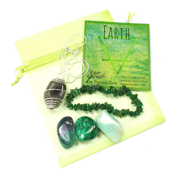 Earth Element Bracelet, Crystal & Necklace Pack