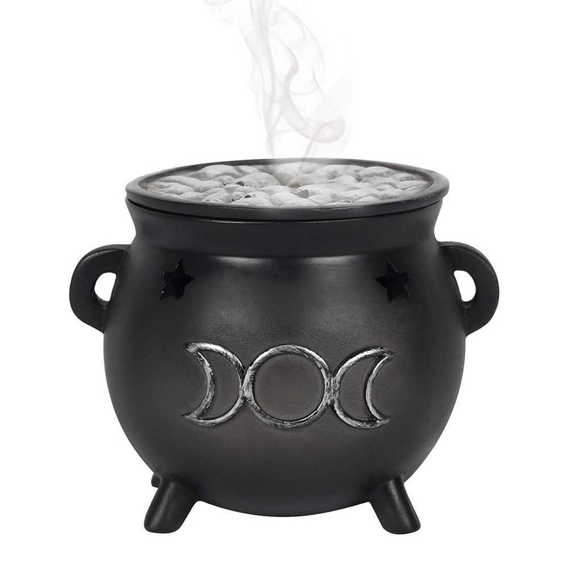 Triple Moon Cauldron Incense Cone Burner