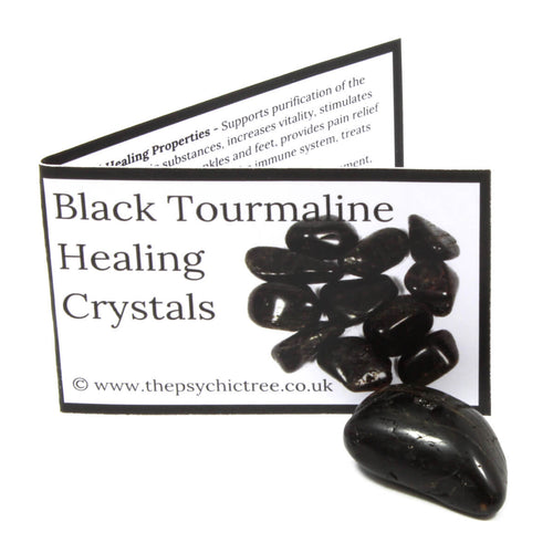 Black Tourmaline Crystal & Guide Pack