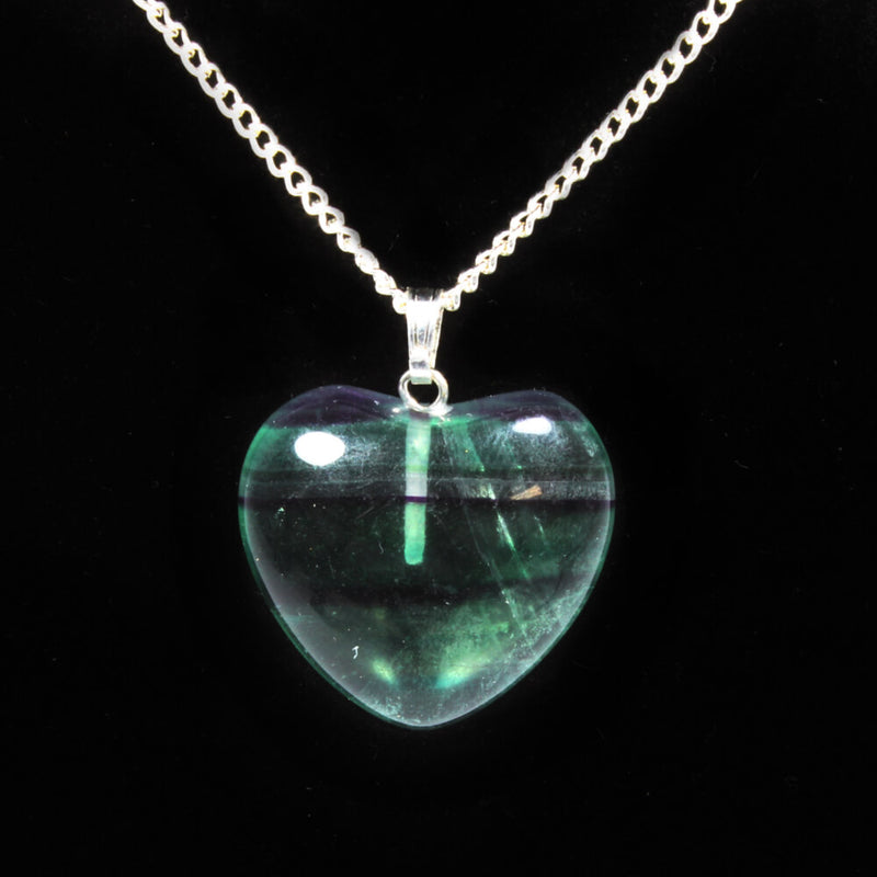 Fluorite Heart Pendant With Chain