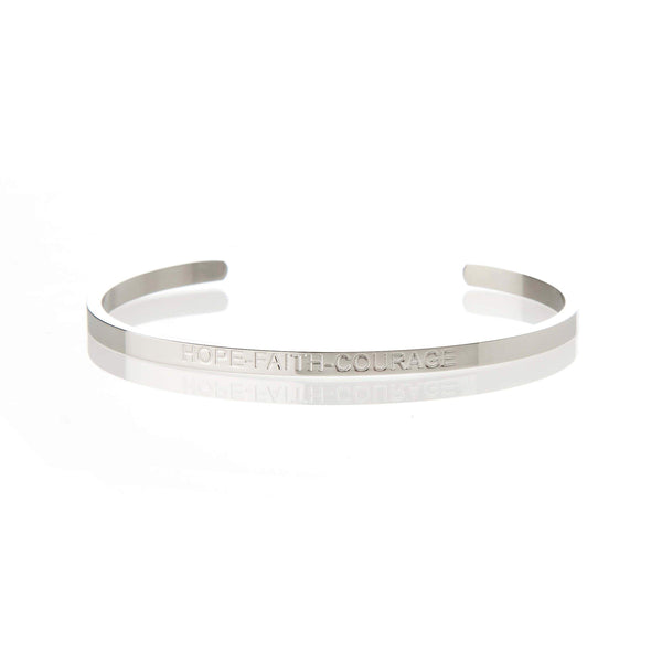 Hope, Faith and Courage - Silver Affirmation Bracelet