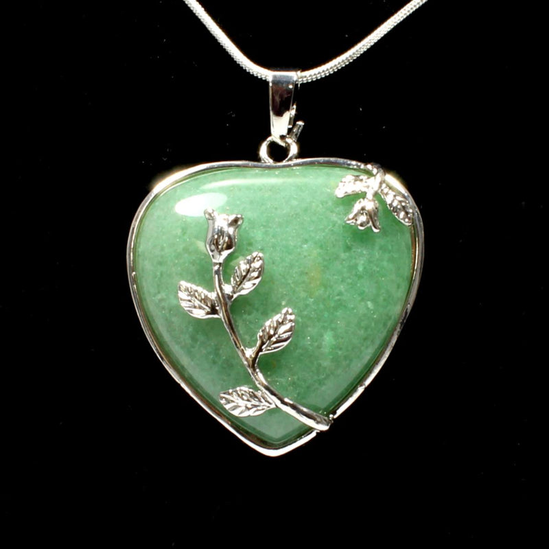 Green Aventurine Heart & Leaf Design Pendant With Chain