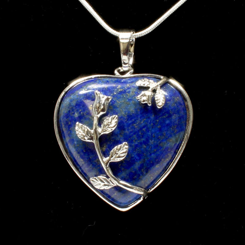 Lapis Lazuli Heart & Leaf Design Pendant With Chain