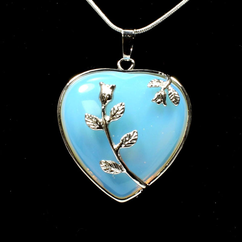 Opalite Heart & Leaf Design Pendant With Chain