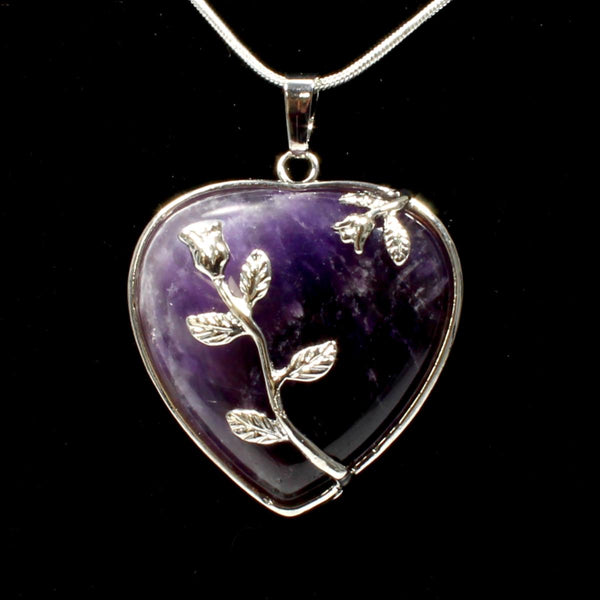 Amethyst Heart & Leaf Design Pendant With Chain