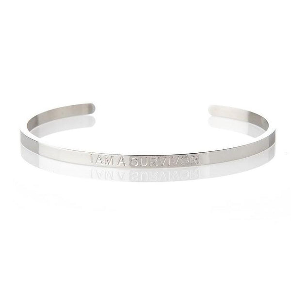 I Am A Survivor - Silver Affirmation Bracelet