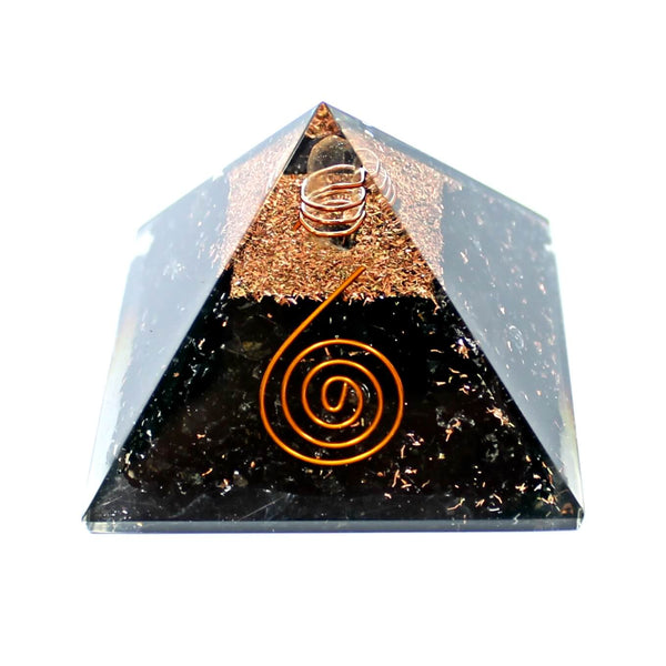 Black Tourmaline With Copper Quartz Orgone Pyramid (7cm)