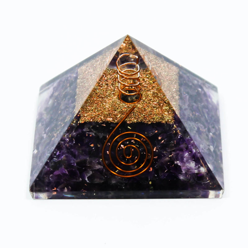 Amethyst With Copper Quartz Orgone Pyramid (7cm)