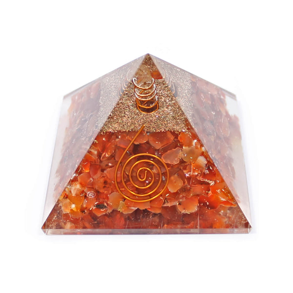 Carnelian With Copper Quartz Orgone Pyramid (7cm)