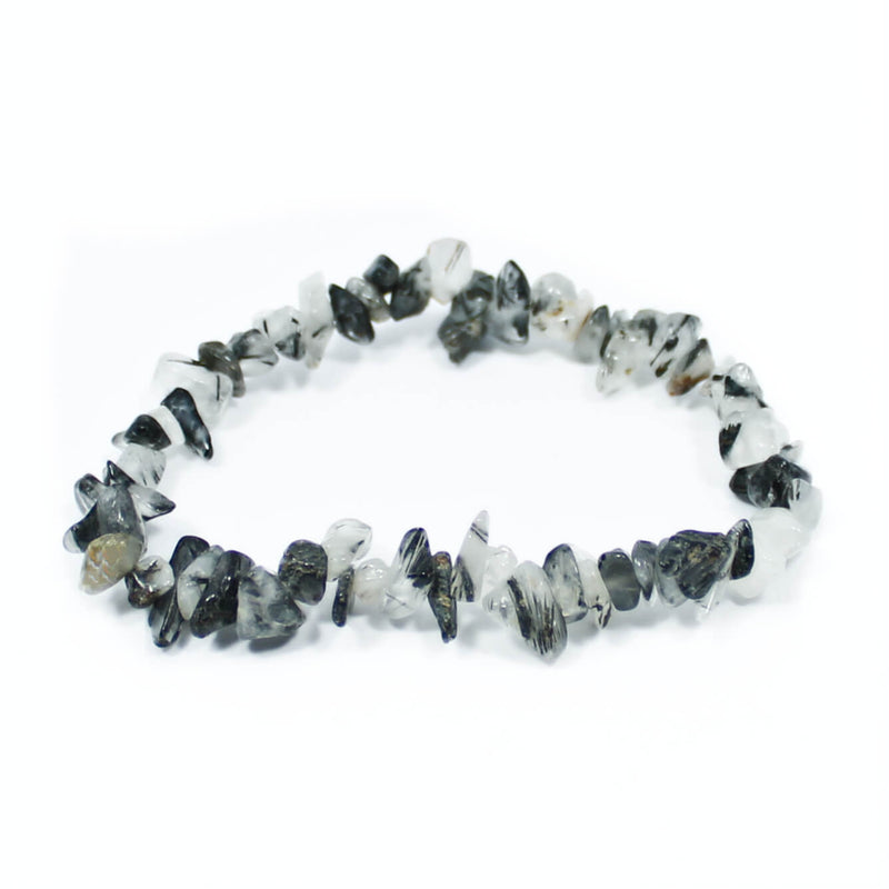Tourmalinated Quartz Stone Chip Bracelet