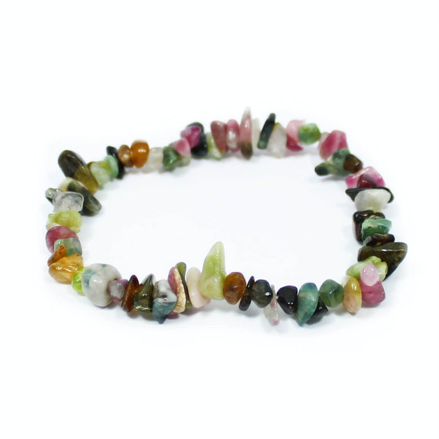 Watermelon Tourmaline Stone Chip Bracelet