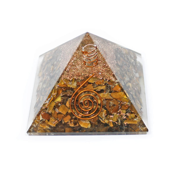Tigers Eye With Copper Quartz Orgone Pyramid (7cm)