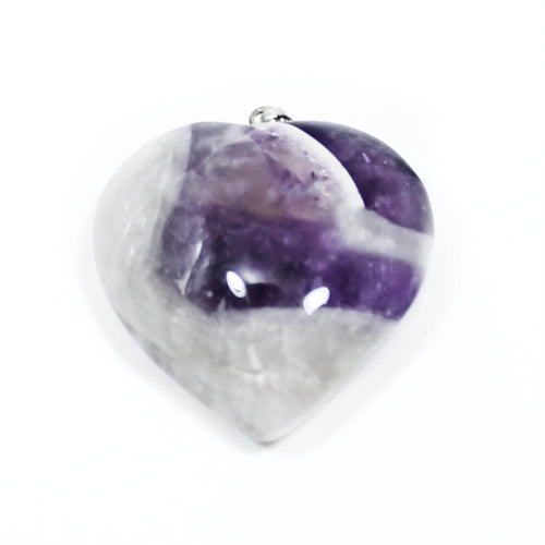 Chevron Amethyst Heart Pendant With Chain