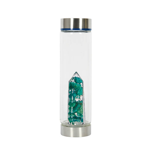 Bewater Balance Glass Bottle - Amazonite and Rock Crystal