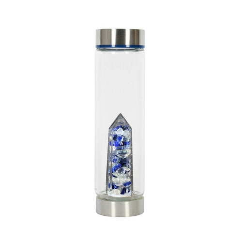 Bewater Compassion Glass Bottle - Lapis Lazuli and Aura Quartz