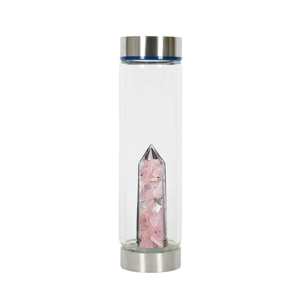 Bewater Harmony Glass Bottle - Rose Quartz and Rock Crystal