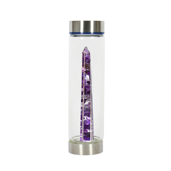 Bewater Clarity Glass Bottle - Amethyst and Rock Crystal