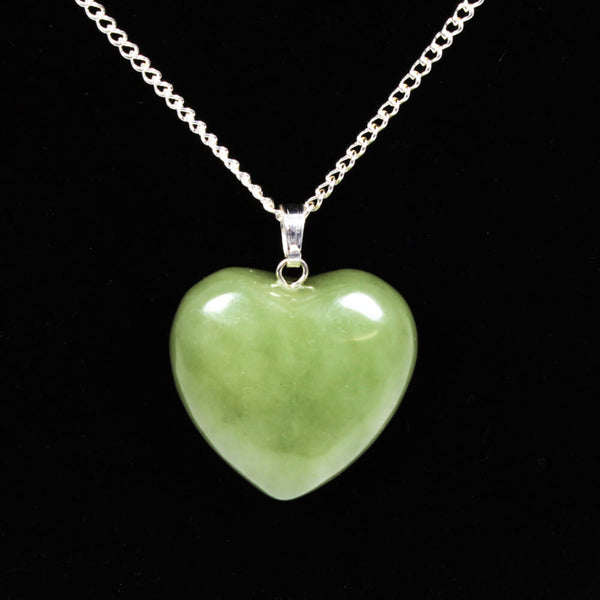 New Jade Heart Pendant With Chain