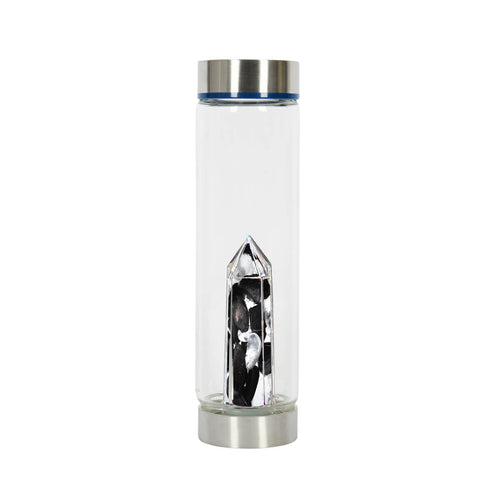 Bewater Liberty Glass Bottle - Obsidian and Rock Crystal