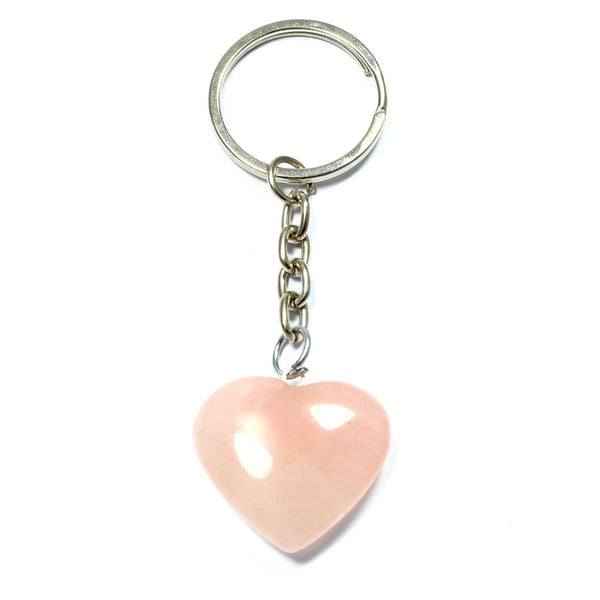 Rose Quartz Heart Keyring