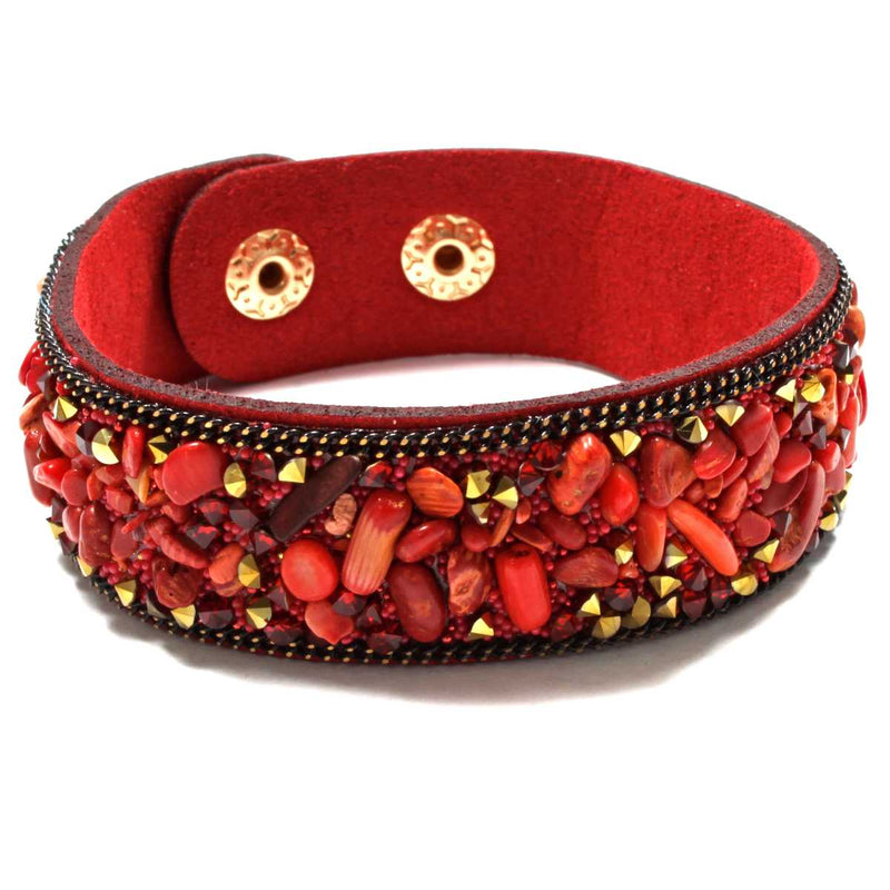 Red Jasper Stone Chip Wrap Bracelet