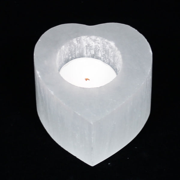 Selenite Heart Candle Holder