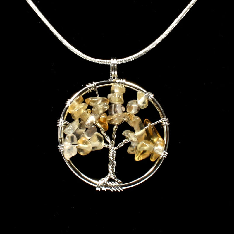 Citrine Tree Of Life Pendant With Chain