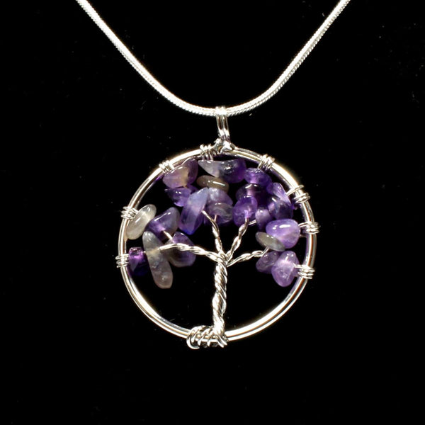 Amethyst Tree Of Life Pendant With Chain