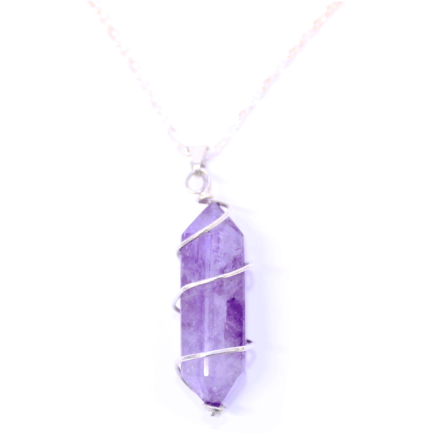Amethyst Point with Spiral Pendant with Chain