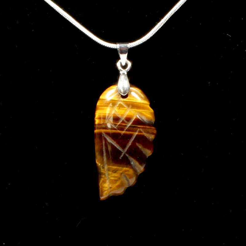 Gold Tigers Eye Angel Wing Pendant With Chain