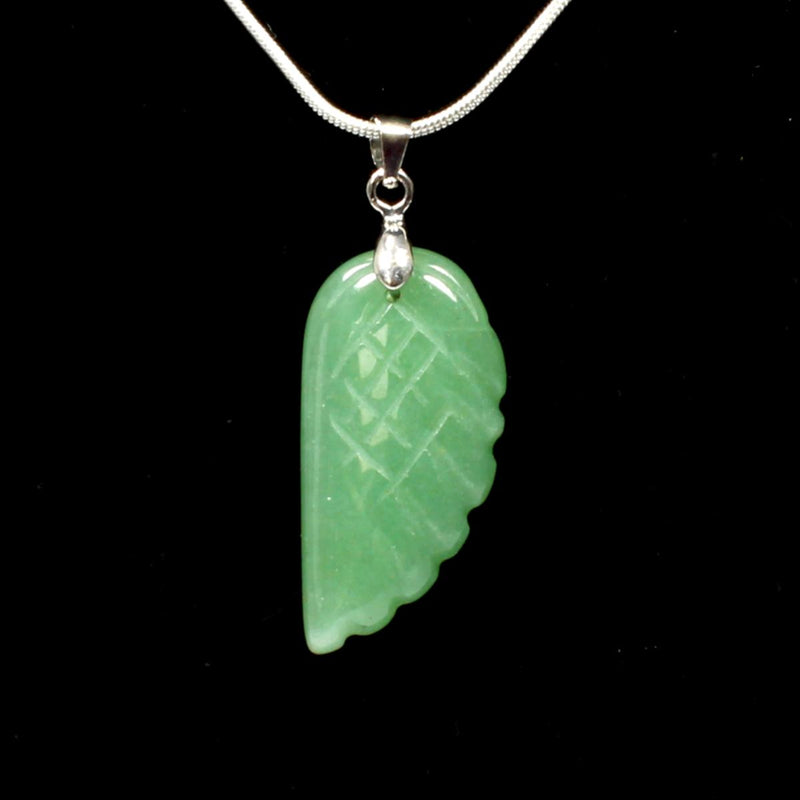 Green Aventurine Angel Wing Pendant With Chain