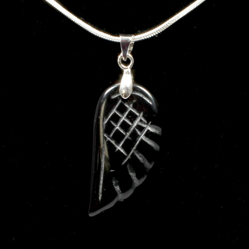 Black Obsidian Angel Wing Pendant With Chain