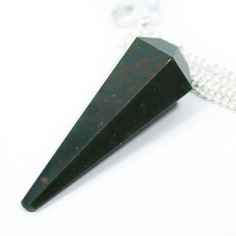 Bloodstone Faceted Cone Pendulum