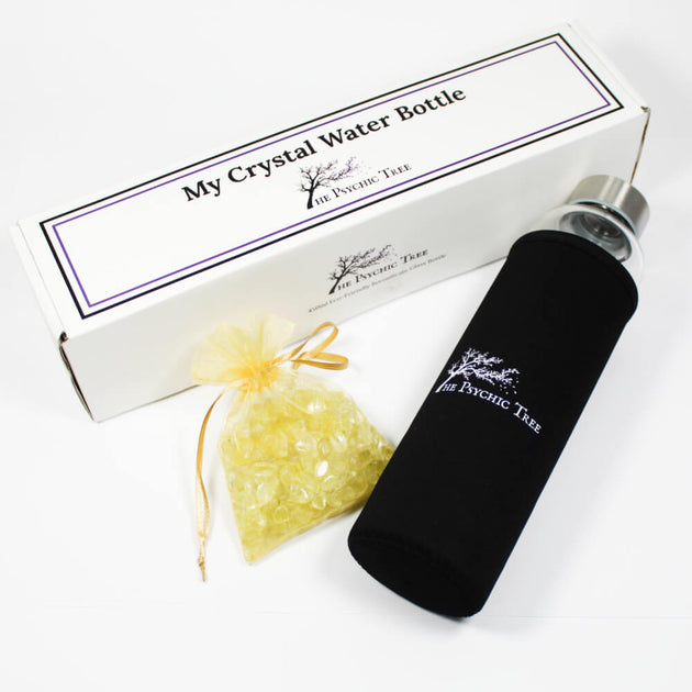 Glass Crystal Water Bottle - Citrine for Optimism and Abundance
