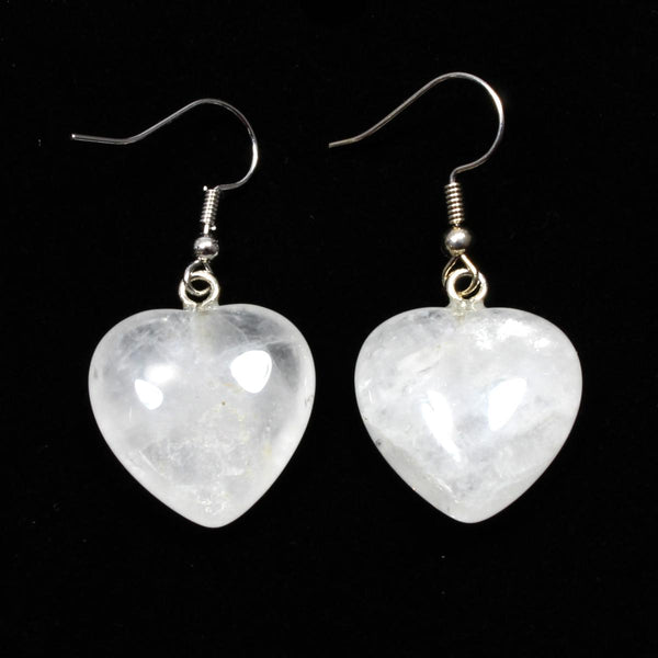 Snow Quartz Heart Earrings