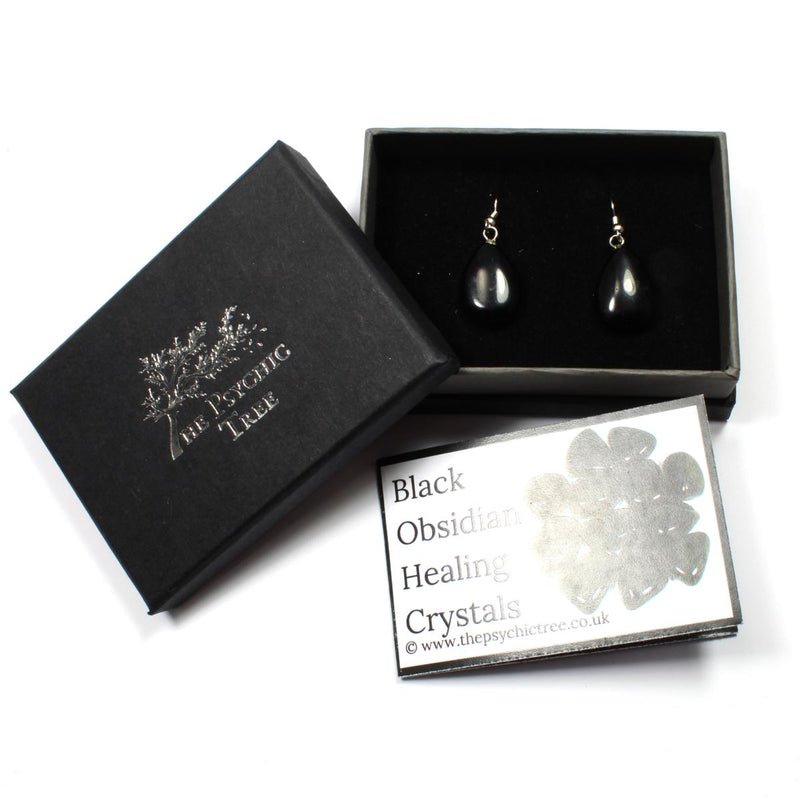 Black Obsidian Teardrop Earrings