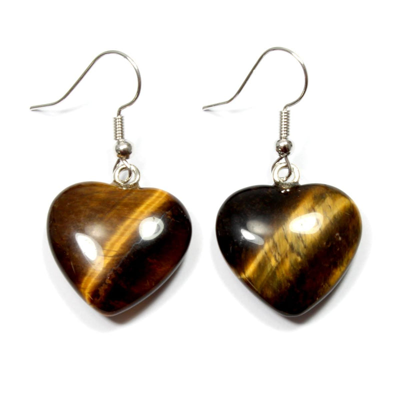 Gold Tigers Eye Heart Earrings