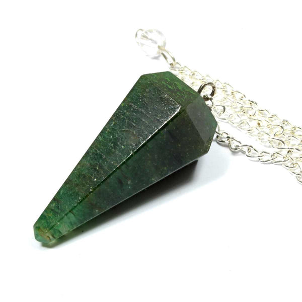 Dark Green Aventurine Faceted Cone Pendulum