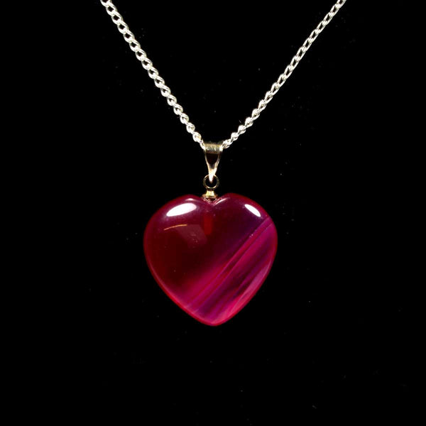 Pink Agate Heart Pendant with Chain