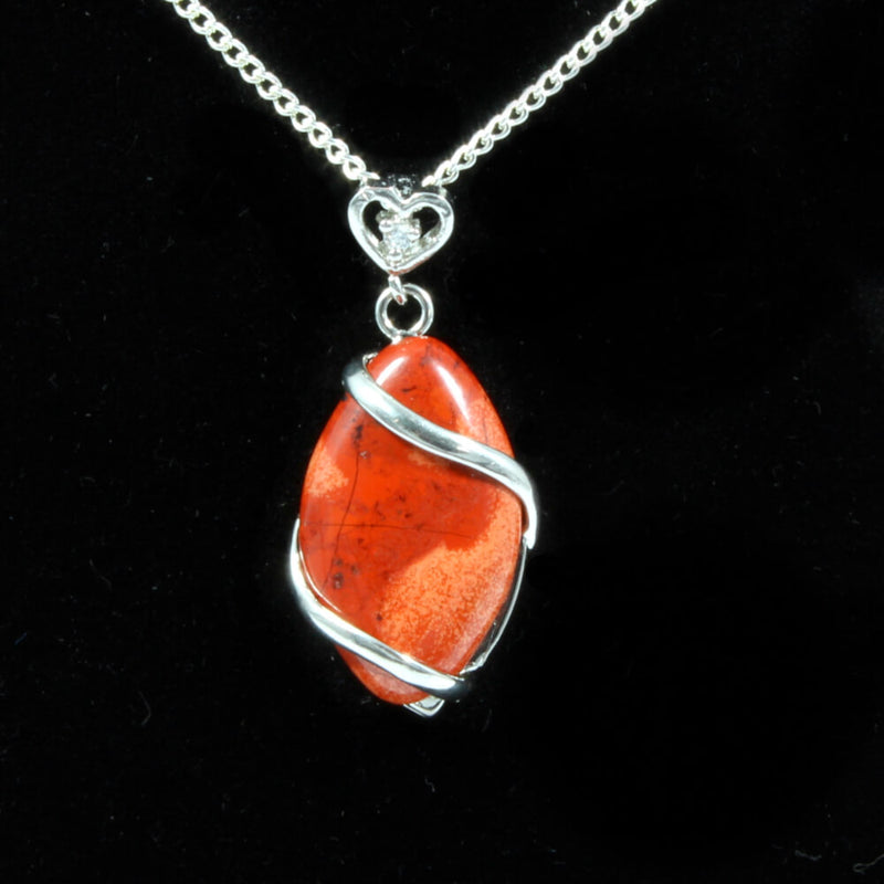 Red Jasper Heart & Oval Pendant