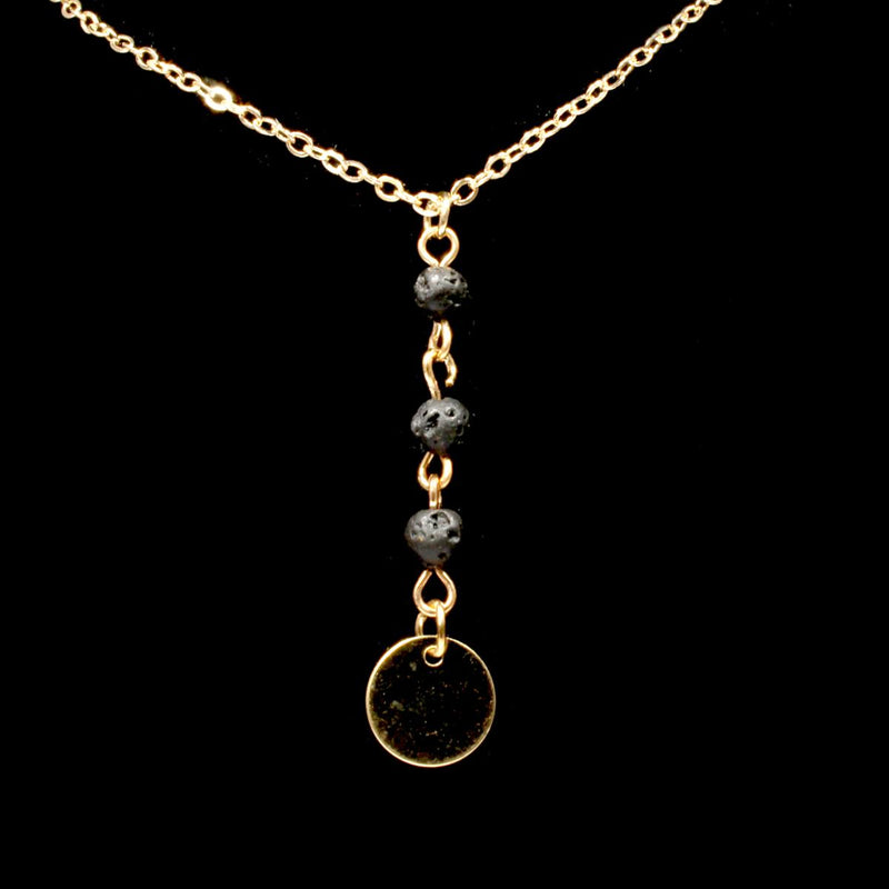 3 Bead Lava Stone Drop Necklace - Gold Plated