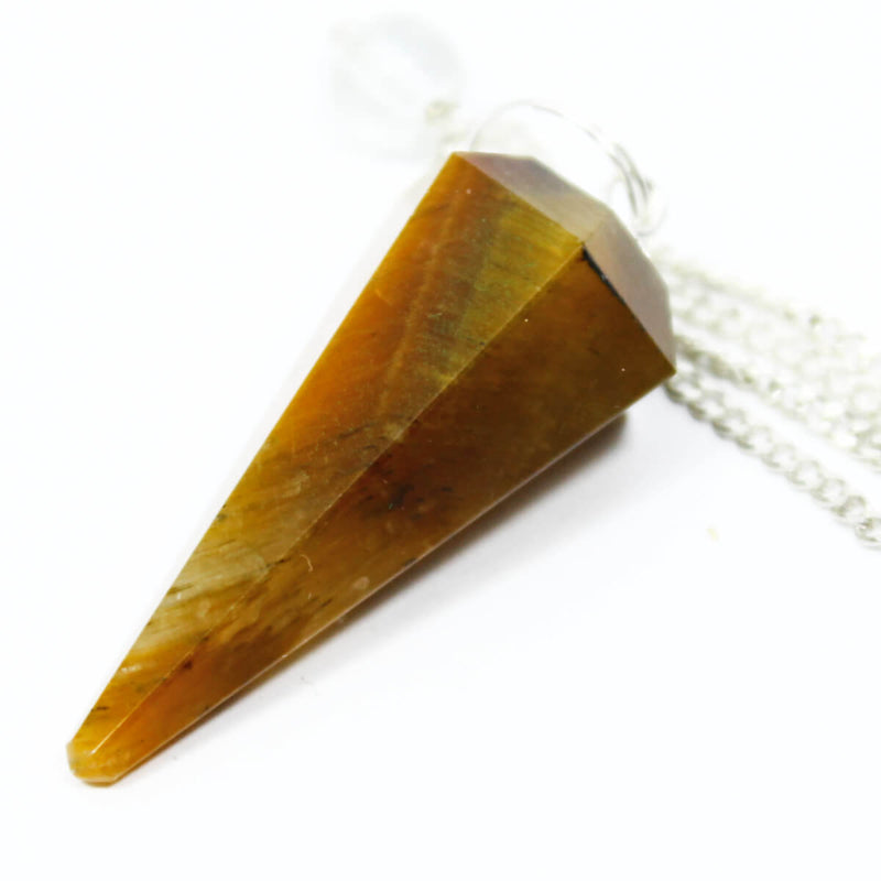 Gold Tigers Eye Faceted Cone Pendulum