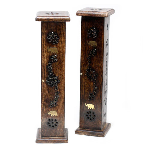 Square Design  Incense Tower With Brass Inlay