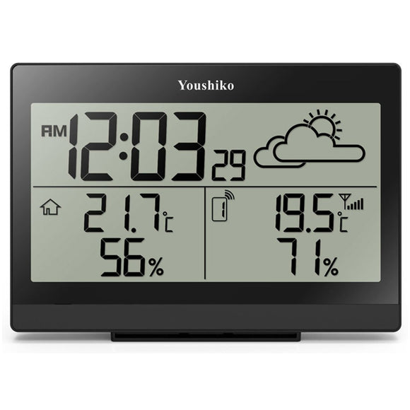 Youshiko Wireless Weather Station with Radio Controlled Clock ( UK Version) , Indoor Outdoor Temperature Thermometer, Ice Alert, Humidity
