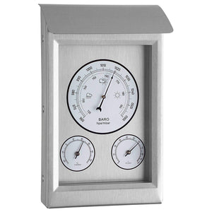 Youshiko 3 in 1 Weather Station for Indoor and Outdoor use, Barometer Thermometer Hygrometer with stainless steel frame